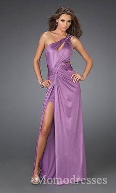 Elegant A-Line One-Shoulder Sleeveless Taffeta Evening Dress In Stock momodresses25523