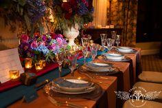 elegant copper rehearsal dinner place settings