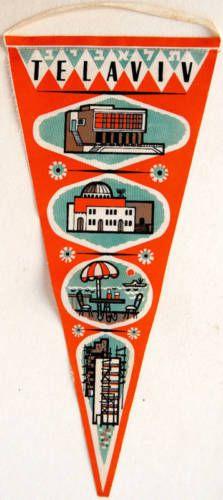 1950-TEL-AVIV-Souvenir-CLOTH-FLAG-BANNER-Israel-PENNANT-Hebrew-JUDAICA-Synagogue