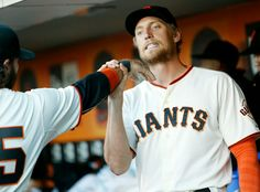 San Francisco Giants' Brandon Crawford and Hunter Pence, right, play around before the game against San Diego Padres at AT&T Park in San Francisco, Calif., on Tuesday, June 24, 2014. (Josie Lepe/Bay Area News Group)