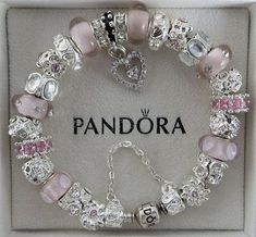 "Authentic Pandora Bracelet with European Beads and Charms, Fall Collection, Radiant Fire-Pink"" O16"