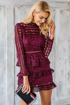 Vintage Ruffle Lace Dress - BEHIND HEMLINES ღ Awesome fashion clothes for stylish women from Zefinka.