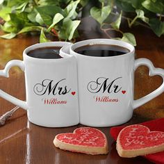 These Romantic Mr. & Mrs. Husband and Wife Personalized Coffee Mugs are adorable! LOVE the heart-shaped handle and how they fit into one another! The set is only $24.95 at PersonalizationMall and you can have it personalized with the couple's last name for free! This is a great wedding gift idea or a Christmas Gift idea for newlyweds! LOVE LOVE LOVE IT!