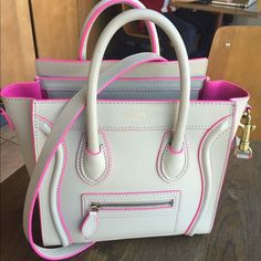 Celine Handbags - Gorgeous Celine Luggage Nano Tote Beige Pink Trim