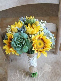 Sunflowers and Succulents Rustic Burlap and Lace Wedding Bridal Bouquet by SouthernGirlWeddings on Etsy https://www.etsy.com/listing/289271369/sunflowers-and-succulents-rustic-burlap