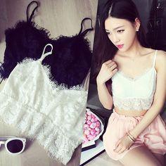 Women Stylish Ultra Short Lace Camisole Strap Crop Bra Tops Sling  WOMJL0033