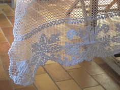 Filet Crochet Tablecloth French filet lace by LinenandLetters