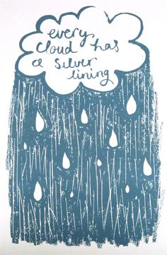 Silver lining hand screen printed card by LilSonnySky on Etsy, £2.50