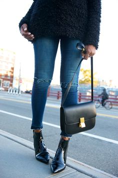 patent pointed boots, skinny jeans, Celine box bag