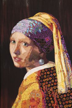 Vermeer Meets Fassett – by Lynn Czaban, Eugene, Oregon, USA.  2015 Houston International Quilt Festival.  Photo by Pam Holland.