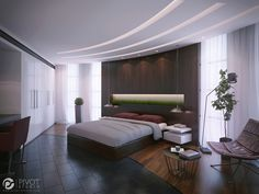 Interior design and 3D visuals of contemporary bedrooms.