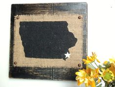 IOWA wood Burlap wall sign Black Your choice state and city, heart or star  different color