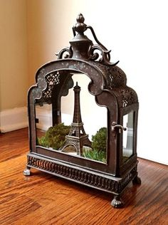 Paris, Eiffel Tower - lantern terrarium. Special miniature garden for vacation memories!