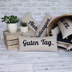 Excited to share the latest addition to my #etsy shop: Guten tag word cushion, travel inspired gift, house warming guten tag, german worded cushion, travel memories, german wanderlust