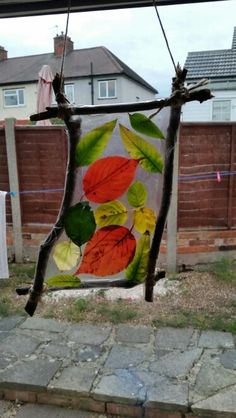 Leaf collage on sticky back at Chadwell Pre-school