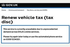 DVLA Website Crashes due to Volume of Traffic when Renewing Car Tax