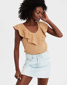 AE Lace Overlay Button-Down Blouse
