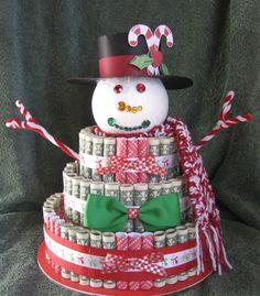 ideas about Money Cake on Christmas Snowman, Diy Christmas Gifts, Christmas Treats, Holiday Gifts, Christmas Parties, Holiday Ideas, Creative Money Gifts, Money Gifting, Money Cake