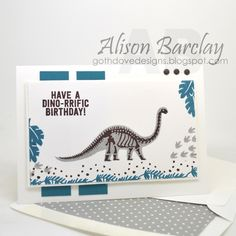 Gothdove Designs - Alison Barclay - Stampin' Up! Australia - Stampin' Up! No Bones About It #dinosaur #jurassicworld #stampinup #birthday #card #stampinupaustralia #gothdovedesigns #inspirecreateshare2015