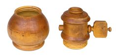 Willis Henry Shaker Auction 9/10/16 Lot 119. Estimate: $500 - 800. Realized: $1,920.  Desc:  Rare Seed Grinder, Maple, original light ochre stained finish with patina, exceptional turned handle with interior grooved grinding ball, 2-piece footed bulbous base threaded to accept the mechanical top section, c. 1850, (note: an ingenious Shaker constructed grinder, possibly used for peppercorns, nutmeg, etc.; the shaped & turned handle is true Shaker master work), 3 3/4″ h, 2 1/4″ dia.