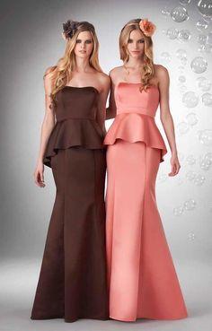 Jolie Satin - Strapless neckline, peplum with long straight skirt.