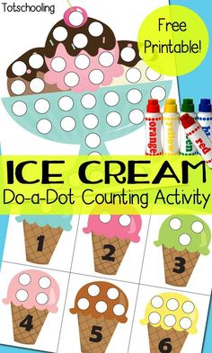 FREE Ice Cream Themed Dot Marker Pages