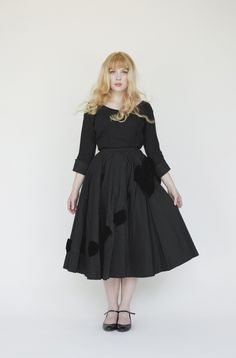 Vintage Black Skirt with Velvet Ribbon. @katie - I thought of you when I saw this!