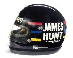 The raceworn James Hunt Bell helmet, used throughout the 1976 World Championship winning Formula 1 season, James Hunt, Racing Helmets, F1 Racing, Racing Team, Vintage Sports Cars, Vintage Racing, Bell Helmet, Vintage Helmet, Helmet Design