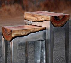 Les superbes créations de la designer Hilla Shamia, qui fusionne bois et aluminium pour créer des meubles minimalistes et modernes, alliant la chaleur organi