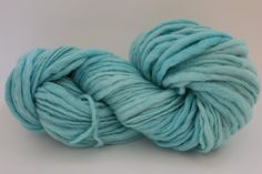 Lightest Turquoise Color Hand Spun Hand Dyed Thick and Thin Chunky Wool Yarn