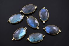 Natural Labradorite Faceted Bezel Connector 24K Gold by Beadspoint, $8.99