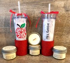 🍎📓 You only have ☝🏻 chance to make a good 1st impression ✏️🍎Back To School Gift Set | Apple Woodwick Soy Candle | Personalized Glitter Water Bottle Gift  | New School Year | Teacher Appreciation Gift | www.sidehustleserenity.etsy.com