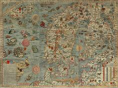 Carta Marina one fo the earliest known maps of scandinavia AMAZINNG complete with sea monsters