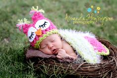 Owl Hat Baby Girl Cape Photography Prop by azek2000