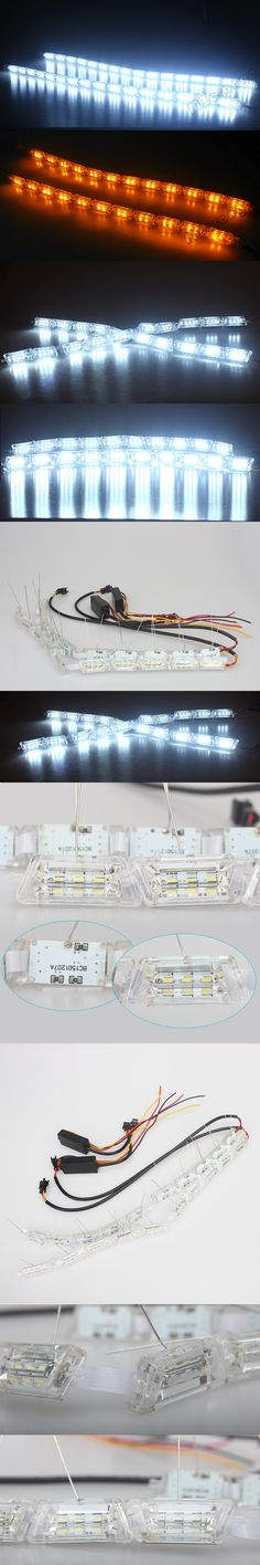 2x Car Flexible Switchback LED Knight Rider Strip Light for Headlight Sequential Flasher Dual Color DRL Turn Signal Lamp