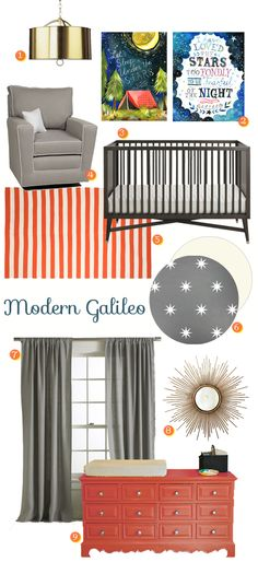 Modern Galileo: Mid Century Retro Nursery - Boy Nursery featuring etsy art and @dwellstudio crib and rug.