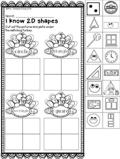 Thanksgiving worksheets for kindergarten. A great variety of activities for literacy and math practice. Thanksgiving Activities For Kindergarten, Thanksgiving Worksheets, Thanksgiving Math, Literacy Activities, Shape Activities, Halloween Worksheets, Kindergarten Math Worksheets, Kindergarten Activities, School Worksheets