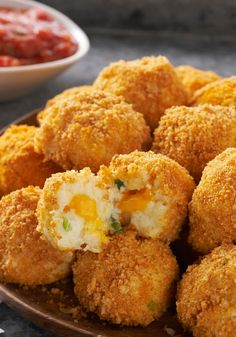 VELVEETA Potato Bites — Crunchy, popable potato balls with an ooey gooey, cheesy center. Seriously. As if game day isn't enough fun already.
