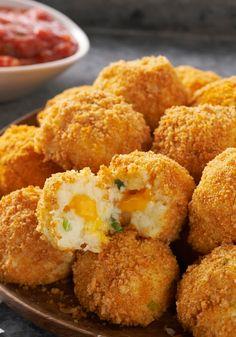 VELVEETA Potato Bites — Crunchy, popable potato balls with an ooey gooey, cheesy center. Seriously. As if game day isn't enough fun already.