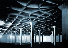 Gatti Wool Factory in Rome, Roma, Lazio, Italy, completed 1951.    Structure: A reinforced concrete factory.  Architect: Carlo Cestelli Guidi; Engineer: Pier Luigi Nervi