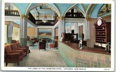 Carlsbad New Mexico Postcard The Lobby Of Crawford Hotel Curteich C1940s