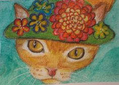 ORIGINAL  #ACEO  WATERCOLOR COLORED PENCIL ART PAINTING CAT KITTEN HAT FLOWERS