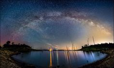 """""""Milky Way over Tuttle Creek Lake"""" panorama by Joe R. Beautiful World, Beautiful Places, Out Of This World, Color Of Life, Milky Way, Amazing Nature, Night Skies, The Great Outdoors, Places To See"""