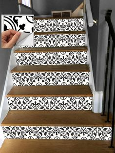 This Stair Riser Vinyl Strips 15 steps Removable Sticker Peel & is just one of the custom, handmade pieces you'll find in our home décor shops. Tile Stairs, Basement Stairs, Foyer Decorating, Decorating Ideas, Decor Ideas, Stair Railing, Stair Steps, Railings, Easy Home Decor