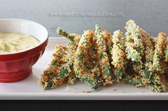 Baked Green Bean Fries with Roasted Garlic Dipping Sauce | my kitchen addiction