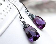 Alexandrite Earrings, Wire Wrapped Earrings, Sterling Silver, Purple Stone, Oxidized Silver, Ecofriendly, Birthstone Earrings - ROYALE    CarrickJewels