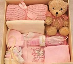 New Baby Girl Gift Box. Contains Baby Wear and Accessories Girl Gift Baskets, Baby Gift Hampers, Baby Gift Box, Baby Hamper, Diy Baby Gifts, Baby Box, Baby Girl Gifts, Newborn Gifts, Baby Shower Gifts