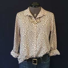 Blush with Black Polka Dots Blouse  Beautiful Color!! Bar III Front Row! Can be dressed up or down. Has a hi-low hem. Long sleeves, button down front. Back of neck to hem is 29 inches, the front measures 25 inches from shoulder seam to hem, bust measured flat across is 19 inches. Size Medium, TTS. It's meant to be an oversized fit. My model is a size Small, so you can see the fit. 100% polyester. In Perfect condition. Bar III Tops Button Down Shirts