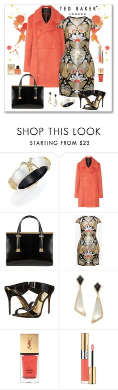 """""""Ted Baker Opulent Orient Jacquard Dress Look"""" by romaboots-1 ❤ liked on Polyvore featuring Alexis Bittar, Ted Baker, Marni and Yves Saint Laurent"""