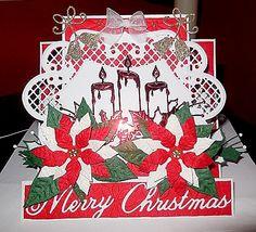 Carte Noël 2014 découpes M.D et bougies Memory box poinsettia memorybox ainsi que le Merry Christmas.